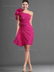 Red Chiffon Natural Column / Sheath Short-length One Shoulder Bridesmaid Dress
