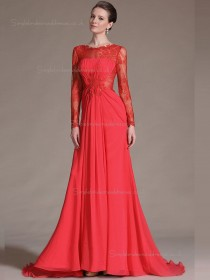 red Chiffon A-line Sweep Empire Bateau Bridesmaid Dress