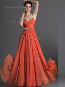 Red A-line V-neck Natural Floor-length Chiffon Bridesmaid Dress