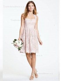 Pink Short-length Natural Sweetheart A-line Lace Bridesmaid Dress