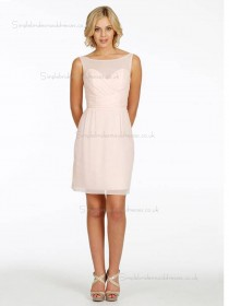 pink Bateau Chiffon Natural Column / Sheath Short-length Bridesmaid Dress