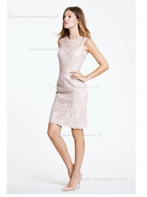 pink Lace Knee-length Scoop Natural Column / Sheath Bridesmaid Dress