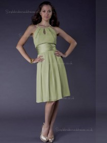 Green A-line Empire Chiffon Knee-length Scoop Bridesmaid Dress