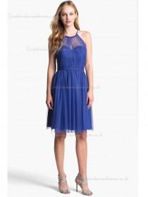Royal Blue Natural Chiffon Knee-length Sweetheart A-line Bridesmaid Dress