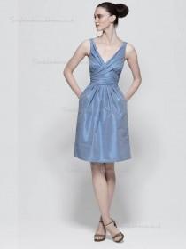 Lavender Knee-length Column / Sheath Taffeta V-neck Natural Bridesmaid Dress
