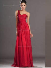 Red Chiffon Sweetheart Natural Sweep A-line Bridesmaid Dress