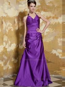 Regency V-neck Empire Satin Sweep A-line Bridesmaid Dress