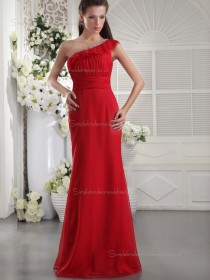 Red Empire Floor-length Column / Sheath Chiffon One Shoulder Bridesmaid Dress