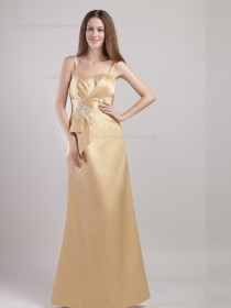 Gold Spaghetti Straps Mermaid Floor-length Satin Empire Bridesmaid Dress