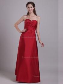 Red Sweetheart Floor-length Empire Satin A-line Bridesmaid Dress