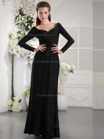 Black V-neck Floor-length Column / Sheath Natural Chiffon Bridesmaid Dress
