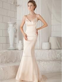 Pink Satin V-neck Natural Mermaid Sweep Bridesmaid Dress