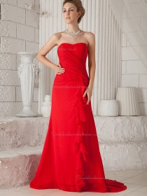 Red Sweetheart Natural Sweep Chiffon A-line Bridesmaid Dress