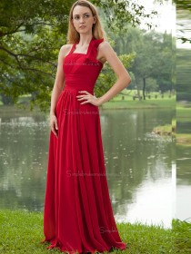 Red Halter A-line Empire Floor-length Chiffon Bridesmaid Dress