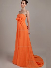 Orange Strapless Sweep Chiffon A-line Empire Bridesmaid Dress