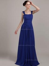 Royal Blue Bateau A-line Empire Chiffon Floor-length Bridesmaid Dress