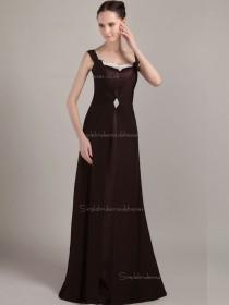 Chocolate Floor-length Bateau Natural A-line Chiffon Bridesmaid Dress