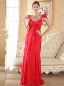 Red Bateau Empire Chiffon Column / Sheath Floor-length Bridesmaid Dress