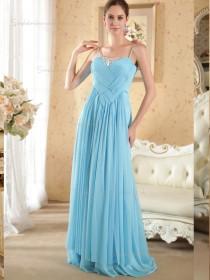 Sky Blue Floor-length Spaghetti Straps A-line Empire Chiffon Bridesmaid Dress