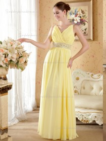 Daffodil Floor-length Chiffon A-line Empire V-neck Bridesmaid Dress