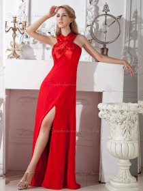 Red Chiffon Empire Floor-length A-line Bridesmaid Dress