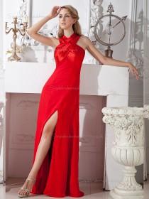 Red Chiffon Empire Floor-length A-line Bridesmaid Dress