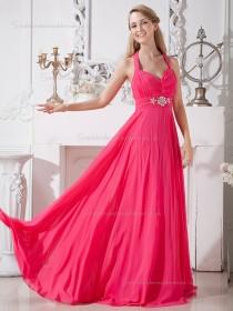 Watermelon Chiffon Sweep Empire A-line V-neck Bridesmaid Dress