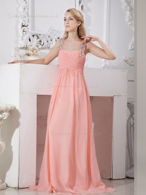 Pink Chiffon A-line Sweep Empire Spaghetti Straps Bridesmaid Dress