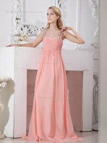 Pink Chiffon A-line Sweep Empire Spaghetti Straps Bridesmaid Dress