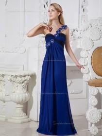 Royal Blue Floor-length One Shoulder Chiffon Empire A-line Bridesmaid Dress