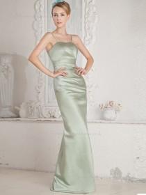 Sage Spaghetti Straps Empire Floor-length Column / Sheath Satin Bridesmaid Dress