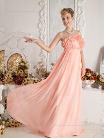 Pink Floor-length Empire Strapless A-line Chiffon Bridesmaid Dress