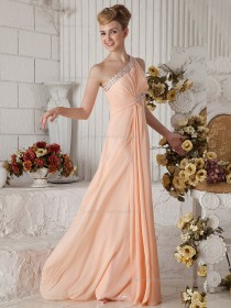 Pink A-line Floor-length Empire One Shoulder Chiffon Bridesmaid Dress