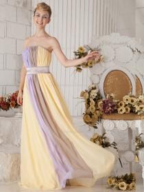 Strapless Floor-length A-line Chiffon Empire Bridesmaid Dress