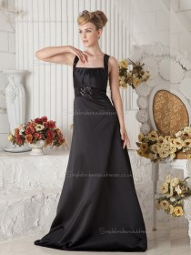 Black Empire Square Satin Sweep A-line Bridesmaid Dress