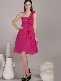 Red Knee-length One Shoulder A-line Empire Chiffon Bridesmaid Dress