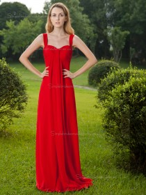 Red Natural Chiffon Column / Sheath Floor-length Straps Bridesmaid Dress