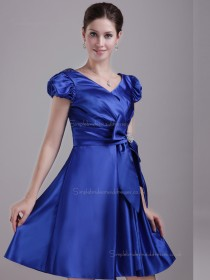 Royal Blue Empire Short-length Satin A-line V-neck Bridesmaid Dress