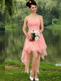 Pink Empire Chiffon A-line Strapless Short-length Bridesmaid Dress