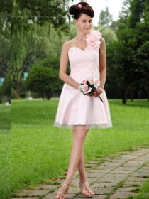 Pink Satin Natural One Shoulder A-line Short-length Bridesmaid Dress