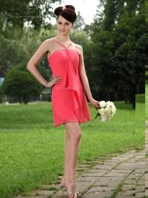 Watermelon Chiffon Spaghetti Straps Short-length Empire Column / Sheath Bridesmaid Dress