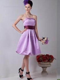 Lilac Strapless Knee-length Empire Satin A-line Bridesmaid Dress
