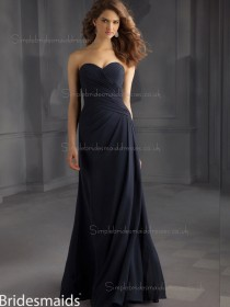 For Girls Dark Navy Chiffon Floor-length Ruched Bridesmaid Dress