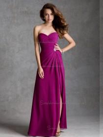 UK Multicolor Fuchsia Chiffon Floor-length Beading Bridesmaid Dress