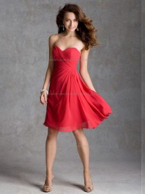 Girls Multicolor Red Chiffon Short-length Ruched Bridesmaid Dress