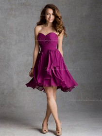 Hot Style Red Chiffon Short-length Ruched Bridesmaid Dress