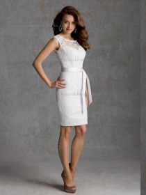 Unusual White Lace Short-length Ruched Bridesmaid Dress