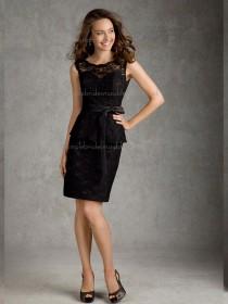 Modern Black Lace Short-length Belt Bridesmaid Dress