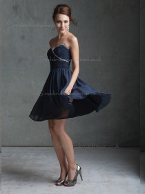 Online Dark Navy Chiffon Short-length Belt Bridesmaid Dress