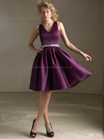 Perfect Grape Satin Short-length Ruched Bridesmaid Dress